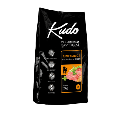 Храна за малки кучета от средни и едри породи до 1год Kudo Low Grain Turkey/Duck Medium&Maxi Junior, с патица и пуйка, две разфасовки