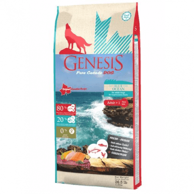 Храна за кучета Genesis Pure Canada Blue Ocean Skin&Coat за красива козина, прясна сьомга, дива херинга и пиле, три разфасовки