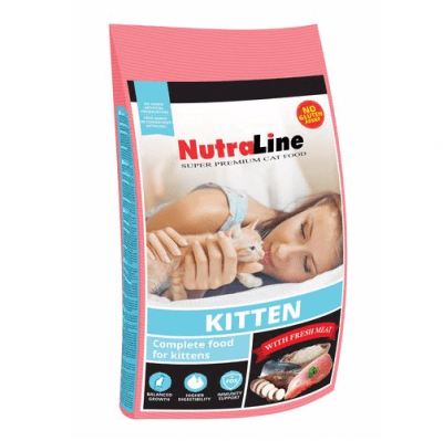Храна за малки котенца на възраст до 12 месеца и за бременни и кърмещи котки Nutraline Cat KITTEN, с пилешко месо, 1.00кг насипно