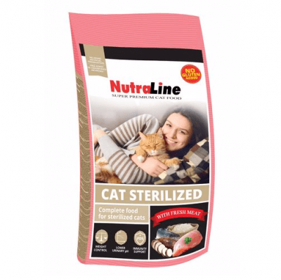 Храна за кастрирани котки и котки склонни към напълняване Nutraline Cat Sterilized, с птиче месо, 1.00кг насипно