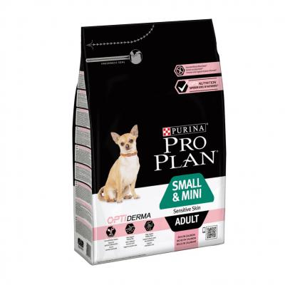 Суха храна за кучета с чувствителна кожа от дребни породи Pro Plan Small & Mini Adult, със сьомга, две разфасовки