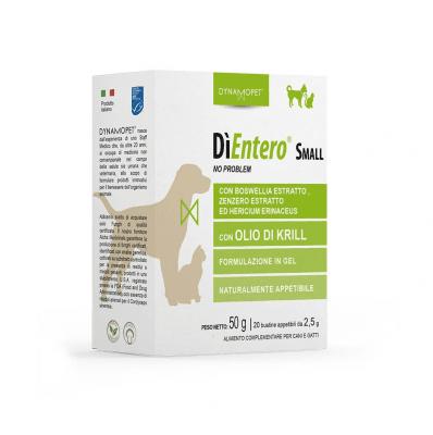 Хранителна добавка за котки и кучета от малки породи Dynamopet DìEntero Small, предназначена да подпомага нормалните храносмилателни функции и нормализирането на изпражненията, 20брх2.5гр