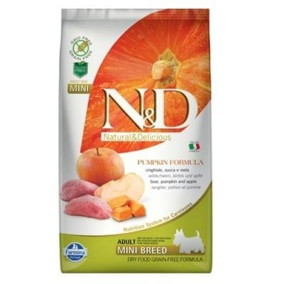 """""""N&D ADULT MINI PUMPKIN"""" - Пълноценна храна за кучета от дребни породи с тиква, глиганско и ябълка"""
