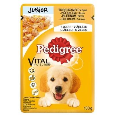 Pedigree - Pouch junior пауч с пилешко месо в желе, за кучета от 1 до 12 месеца, 100 гр.