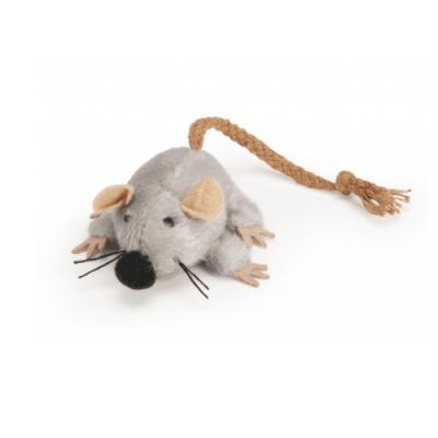 Играчка за котки - Мишка с опашка от въже, 7 см