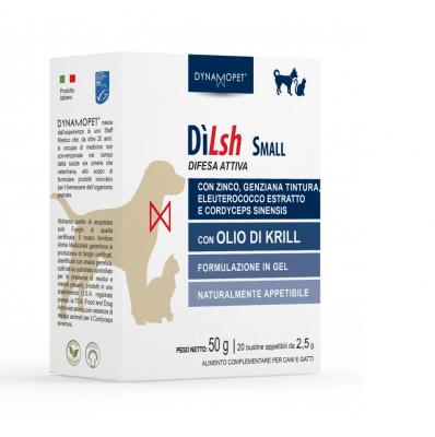 Хранителна добавка, поддържаща естествената физиологична защита на организма на котки и кучета от дребни породи, живеещи в топли и влажни зони Dynamopet Dilsh, 20брх2.5гр