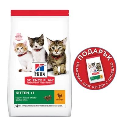 Храна за подрастващи котенца и за бременни и кърмещи котки Hill's Science Plan Kitten, с пилешко месо, 1,5кг+300гр ПОДАРЪК