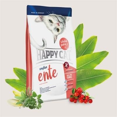 Happy Cat Sensitive Ente – храна за котки с патешко подходяща за дългокосмести котки - три разфасовки