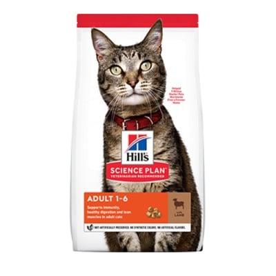 Hill's Science Plan Adult с агнешко и ориз - Балансирана суха храна за котки над 1 година -  три разфасовки