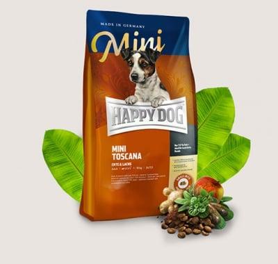 Храна за кучета Happy Dog Mini Toscana - За здравословна диета при особено чувствителни кучета от дребни породи - две разфасовки
