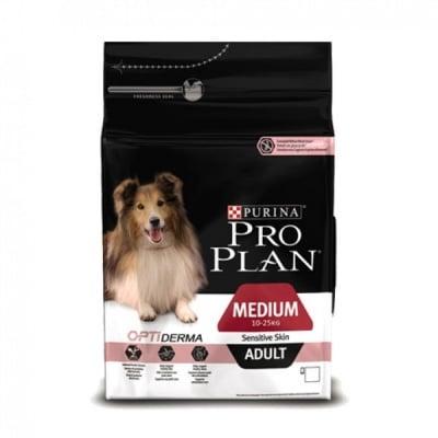 Суха храна за кучета от средни породи с чувствителна кожа Pro Plan, Medium Adult, със сьомга, две разфасовки