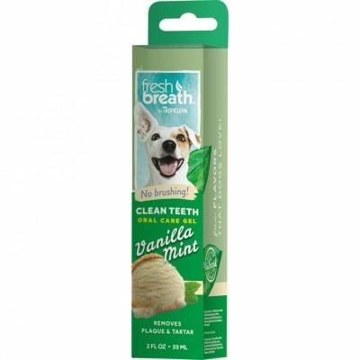 Почистващ гел за кучета против зъбен камък и плака TROPICLEAN Vanilla mint, с вкус на ванилия и мента, 59мл
