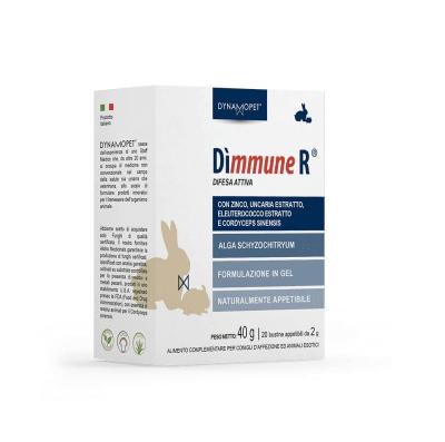 Хранителна добавка, разработена за подпомагане на естествената физиологична защита на организма на домашния заек и на екзотичните домашни любимци като цяло (морско свинче, чинчила и други подобни) Dynamopet Dìmmune R, 20брх2гр