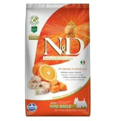 """""""N&D ADULT MINI PUMPKIN"""" - Пълноценна храна за кучета от дребни породи с тиква, риба треска и портокал"""