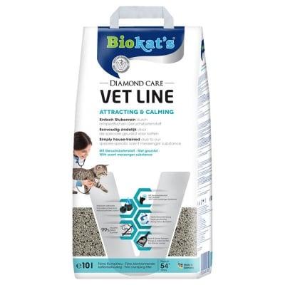 Силнопопиваща слепваща постелка за котешка тоалетна, 100% бентонит, с аромат с привличащо и успокояващо въздействие върху котките Biokat's Diamond Care ATTRACTING&CALMING *VET LINE*, 5,50кг