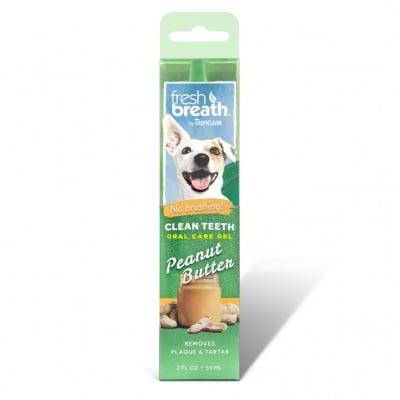 Почистващ гел за кучета против зъбен камък и плака TROPICLEAN Peanut Butter, с вкус на фъстъчено масло, 59мл
