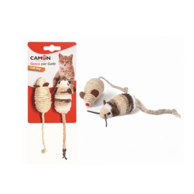 Комплект от две мишки за котки - от сезал и плат, 7 см