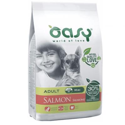 Храна за кучета Oasy Salmon Monoprotein Adult Mini със сьомга за мини породи над 10 месеца, 2.5кг