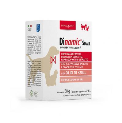 Хранителна добавка за здрави стави при котки и  кучета от малки породи Dynamopet Dìnamic Small, 20брх2.5гр