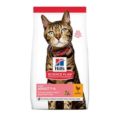Hill's Science Plan Adult Light с пиле  - Суха храна за слабоактивни и склонни към напълняване котки