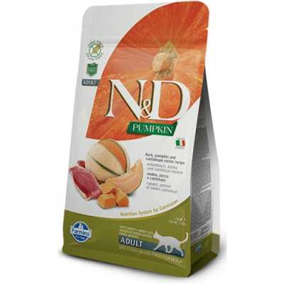 """""""N&D CAT GRAIN FREE PUMPKIN DUCK & CANTALUPE ADULT"""" – Пълноценна храна за котки над 1 година с тиква, патица и пъпеш"""