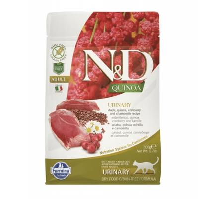 N&D QUINOA URINARY с патешко месо - Пълноценна храна за котки. За възстановяване на здравето на уринарния тракт