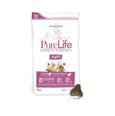 Храна за малки кученца, кучета в напреднала бременност и кърмещи кучета Pro-Nutrition Flatazor PureLife Puppy, без зърнени храни, със сьомга и бяла риба, две разфасовки