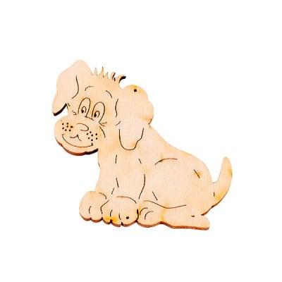 Деко фигурка куче с отвор, дърво, 30 mm