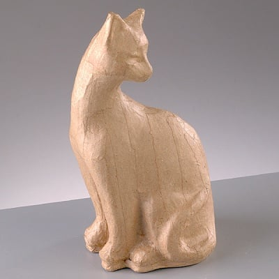 Фигура от папие маше, котка 2 - 9 x 8 x 19,5 cm