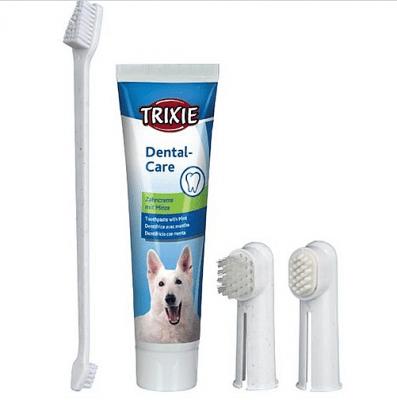 Zahn - Creme - Комплект паста + двойна четка за зъби за кучета + 2 допълнителни накрайника за пръст, 100 гр.