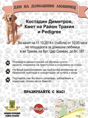 Безплатни консултации с ветеринар, игри и подаръци в Деня на домашния любимец в Тракия, Пловдив