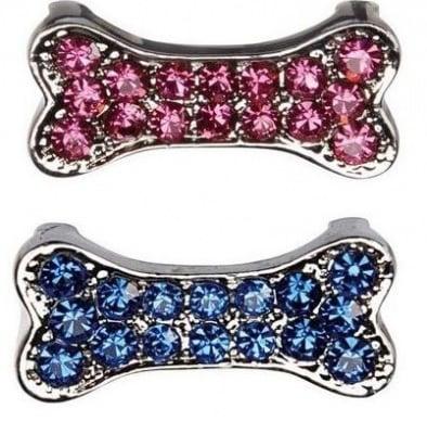 Декоративна форма на кокал с брилянти за поводи и нашийници, два цвята