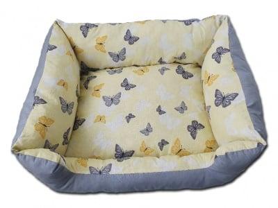 2 в 1 Двулицево легло за кучета или котки ПЕПЕРУДА + подарък възглавничка кокалче - 100% памук Ранфорс