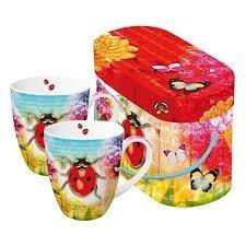 Комплект порцеланови чаши Ladybug & Flowers - 2 броя