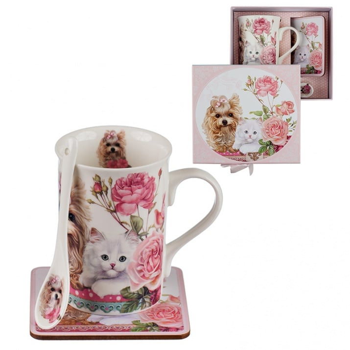 Комплект чаша Коте и Куче + лъжичка и подложка