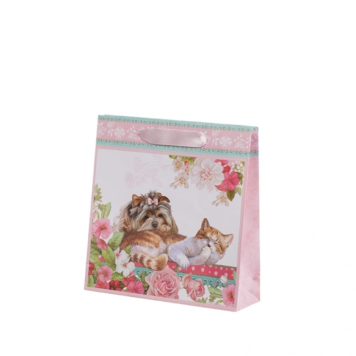 Подаръчна торбичка - Коте и куче, пакет 10бр., средна
