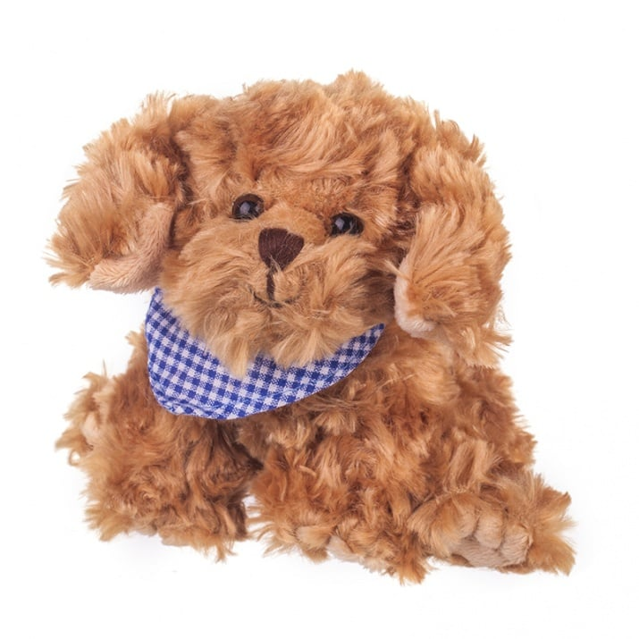Плюшенa играчка кученце със син шал