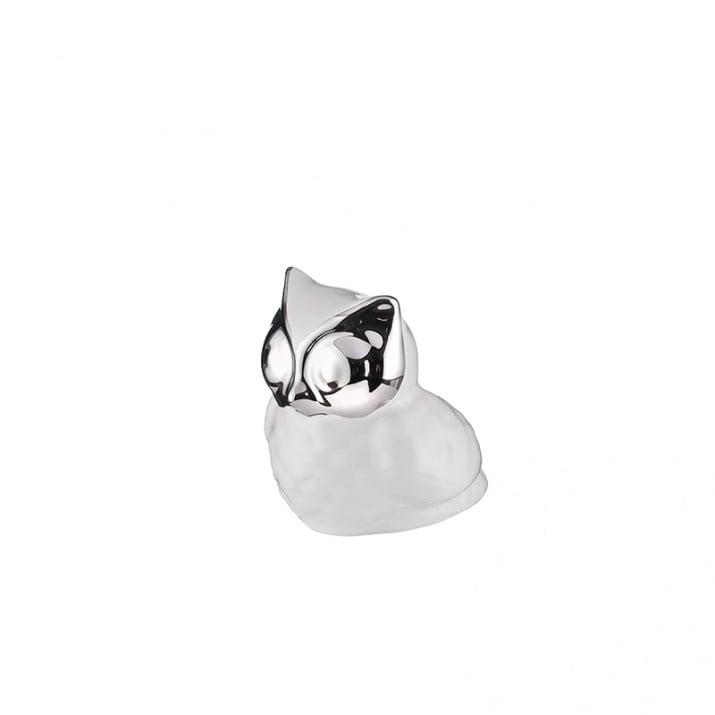 Керамична фигура Бухал със сребърни очи - 11/9/11см., малка