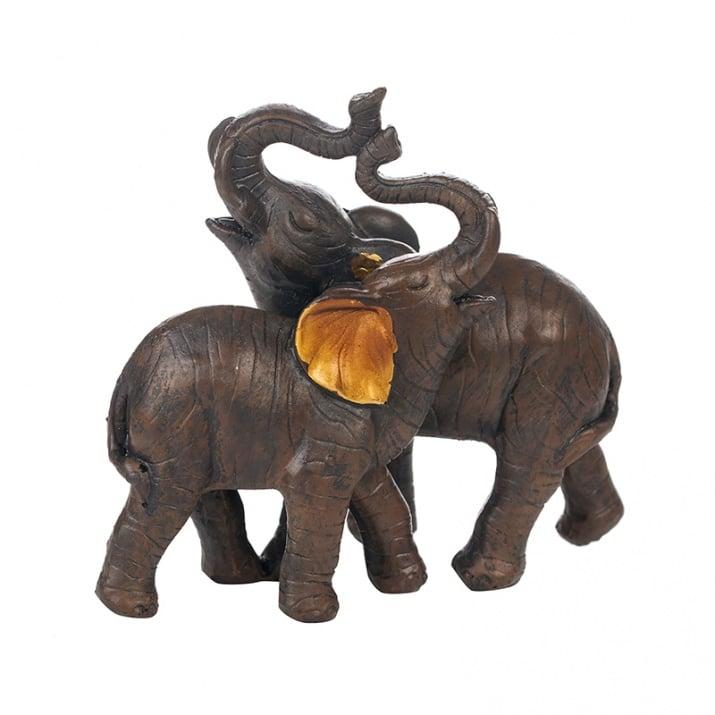 Фигура Прегърнати слончета, 11х6х11.5 см.