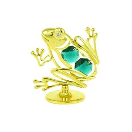 Златна фигура Жаба с компоненти Сваровски