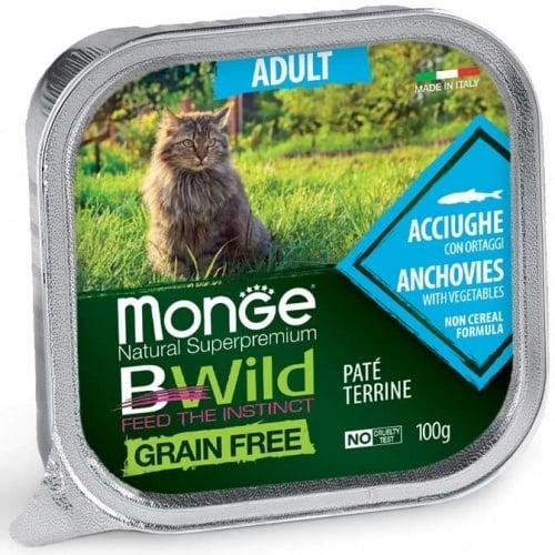 Пастет за котки Monge Natural Superpremium BWild Grain Free Adult, с аншоа и зеленчуци,100гр