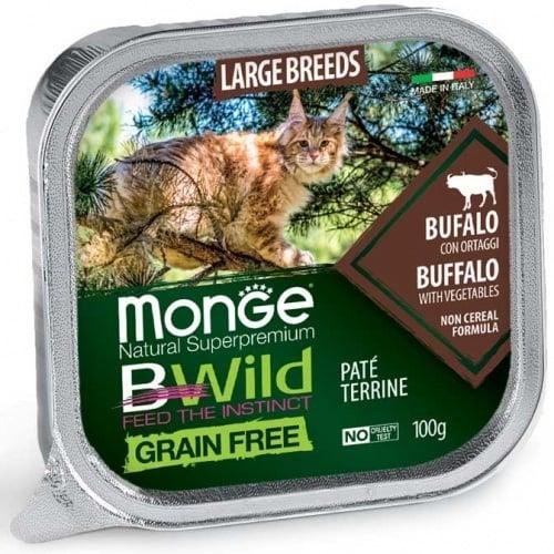 Пастет за подрастващи котенца и възрастни котки от едрите породи Monge BWILD Grain Free Large Breeds, без зърнени храни, с биволско и зеленчуци, 100гр