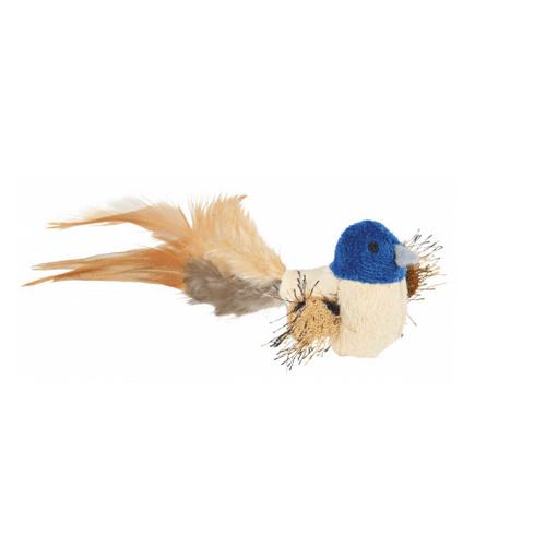 Играчка за коте - плюшено пиле с пера - 8 см.