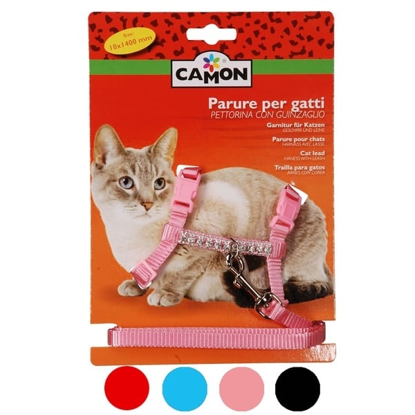 """""""Camon"""" - Комплект за котка повод + нагръдник - четири цвята"""
