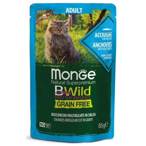 Пауч за котки Monge BWILD Grain Free Adult, без зърнени храни, с аншоа и зеленчуци, 85гр