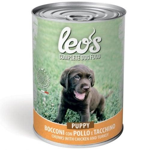 Консерва хапки в сос за подрастващи кучета Leo's, с пилешко месо, 415гр