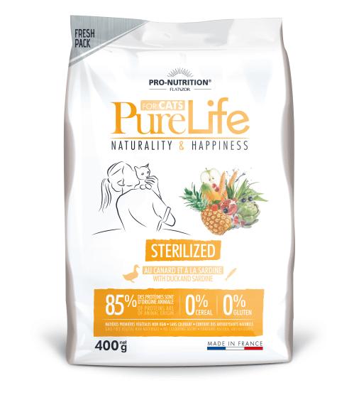 Храна за кастрирани котки и/или котки със склонност към напълняване Flatazor Pure Life Cat STERILIZED, с патешко и сардини, три разфасовки
