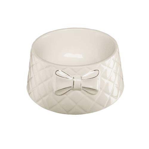 Елегантна бяла порцеланова купа с панделка - 0,700 л