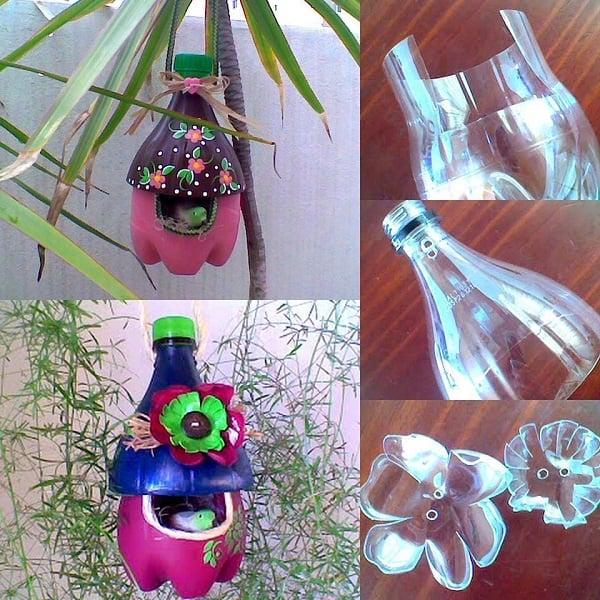 Къщичка за птици от пластмасови бутилки