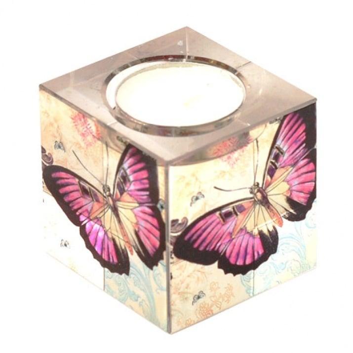 Свещник куб с пеперуда